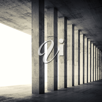 Abstract architecture background, empty interior with concrete walls and columns. Square composed 3d illustration with retro toned filter