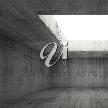 Metal ladder goes to the light out from the dark concrete interior, 3d illustration