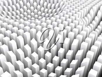 Abstract digital background with curved surface formed by top sides of white columns area array, 3d illustration
