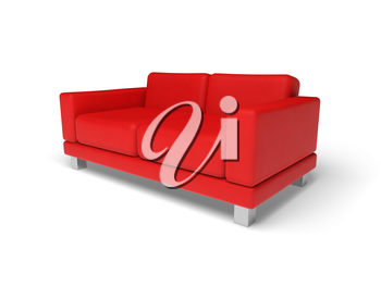 Red sofa isolated on white empty floor background, 3d illustration, perspective view
