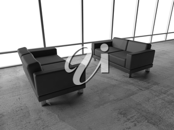 Abstract interior, office room with concrete floor, white window and two black leather sofas, 3d illustration