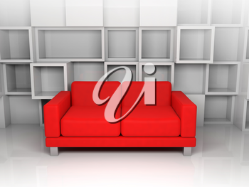 Abstract interior, room with white cubic shelves decoration on the wall and red leather sofa, 3d illustration