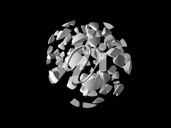 Abstract explosioon 3d object, cloud of spherical fragments isolated on black background