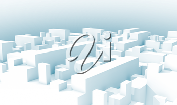 Abstract white schematic 3d cityscape with light blue shadows