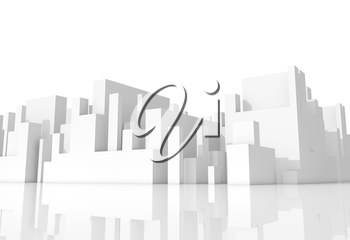 Abstract white schematic 3d cityscape on white background