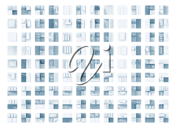 Abstract flat geometric technical blue square icons on white background, seamless backdrop