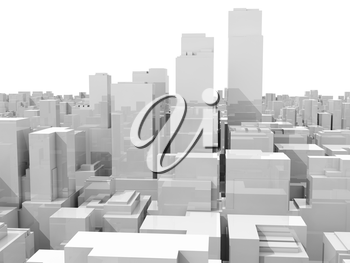 Abstract white 3d cityscape, skyline with skyscrapers isolated on white background