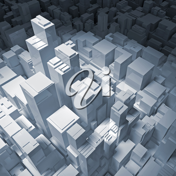Abstract digital cityscape with tall office buildings in blue spotlight, 3d illustration