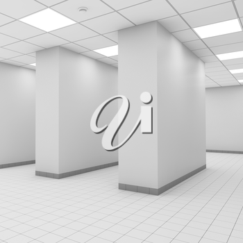 Abstract modern white office interior with columns. 3d illustration