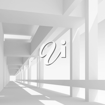Abstract architecture background with empty white corridor perspective, 3d illustration