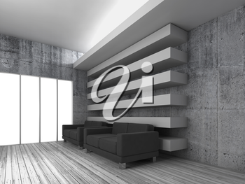 White modern interior background with black leather sofas and empty windows, 3d render illustration