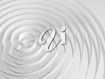 White 3d spirals with soft shadows, abstract digital illustration, monochrome background pattern