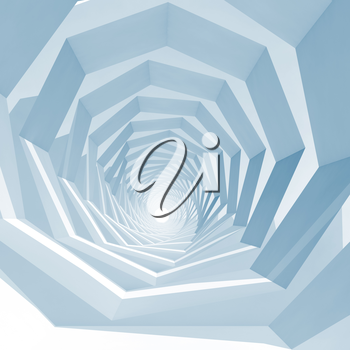 Abstract blue toned square cg background with empty swirl tunnel interior perspective, 3d illustration