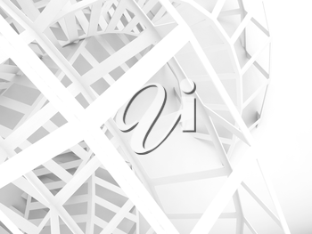 Abstract white digital background, wire structure. 3d illustration