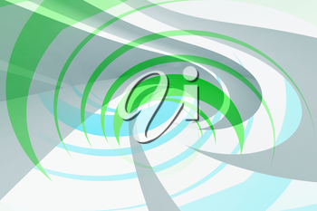 Green and blue spiral background pattern. Abstract digital illustration, 3d render