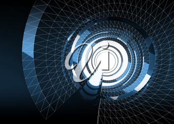 Abstract dark blue digital tunnel background with wire-frame lines, 3d render illustration