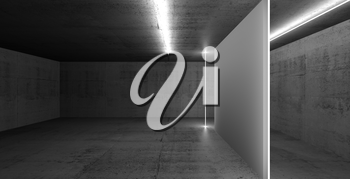 Abstract dark concrete interior, empty white banner stand illuminated with neon light lines, 3d render illustration