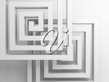 Abstract square spirals over white background, 3d render illustration