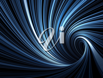 Abstract digital background, dark blue spiral tunnel with pattern of glowing lines, 3d render illustration