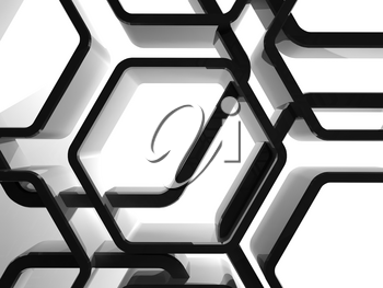 Abstract shiny black honeycomb ornamental background, 3d render illustration