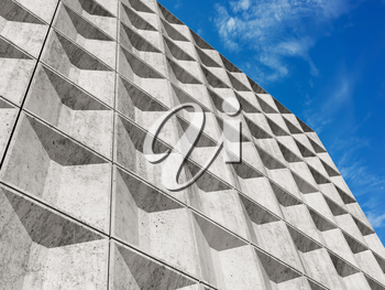 White concrete wall with decorative relief tiling pattern under blue sky. Abstract Minimalism architecture background, 3d render illustration