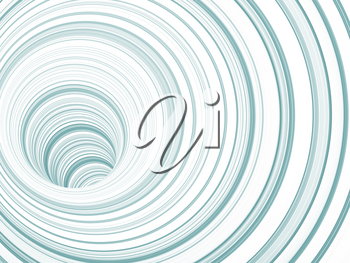 Abstract background, tunnel of blue white rings, 3d render illustration