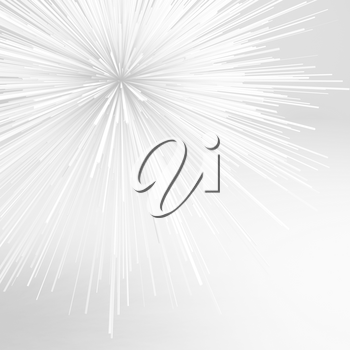 Abstract sharp white explosion object. Square 3d illustration