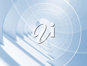 Abstract blue white minimal tunnel background. 3d illustration with double exposure effect
