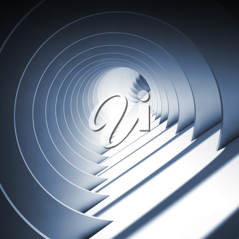 Abstract round blue tunnel with glowing end, modern cg background wallpaper. 3d render illustration