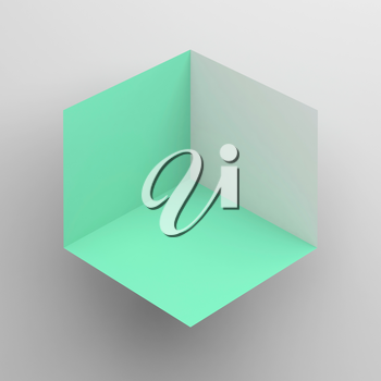 Abstract cubical object with green sides over white background, 3d render illustration