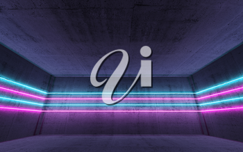 Abstract dark concrete interior background with colorful neon light lines, 3d render illustration