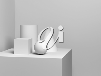 Abstract still life installation with white geometric shapes. 3d render illustration
