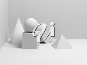 Abstract classical still life installation with white primitive geometric shapes. 3d render illustration