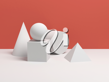 Abstract still life with white simple geometric shapes. 3d render illustration