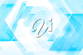 Abstract blue digital background with low poly design elements. Double exposure 3d render illustration
