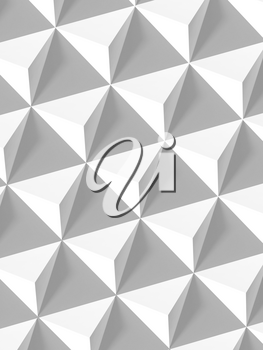 Abstract geometric pattern, white pyramids array vertical background, 3d render illustration