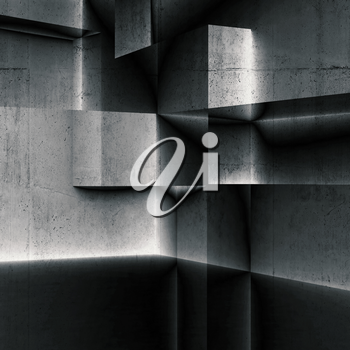 Abstract dark square concrete background with double exposure effect, 3d illustration
