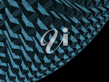 Abstract graphic background with round dark blue structure and black copy-space area on right side. Stylized 3d rendering illustration
