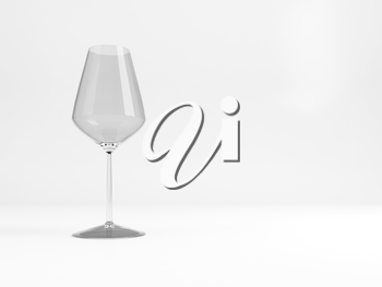 Empty white wine glass with soft shadow stands on a white table over light gray background, 3d rendering illustration