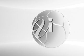 Abstract white flying spherical object with chaotic fragmentation is in an empty white interior, 3d rendering illustration