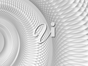 Abstract white background with round spiral structure made of circles, 3d rendering illustration