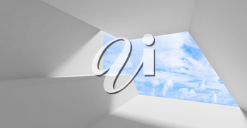 Abstract white interior, an empty room with wide blank window and blue sky on a background, minimal contemporary architecture template, 3d rendering illustration