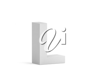 White bold letter L isolated on white background with soft shadow, 3d rendering illustration
