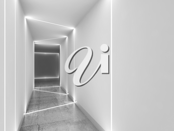 Empty white tunnel perspective view with polished concrete floor, matte walls and LED stripes illumination. Abstract minimal interior background. 3d rendering illustration