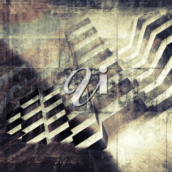 Abstract grungy wall background with geometric structure pattern. Multi exposure 3d render illustration, concrete texture