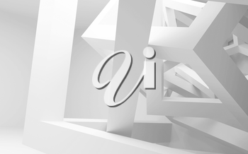 White abstract interior with chaotic construction of cubes. 3d illustration