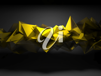 Abstract digital background, interior with yellow shining chaotic polygonal structure, 3d render illustration