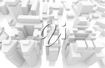 Abstract contemporary white cityscape, digital 3d render illustration