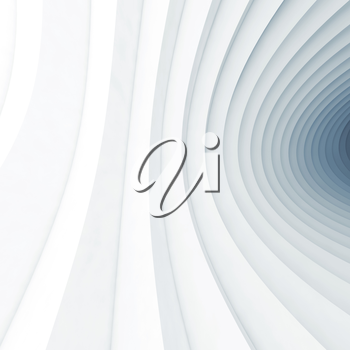 Square abstract geometric digital background with bent vortex tunnel interior, 3d illustration