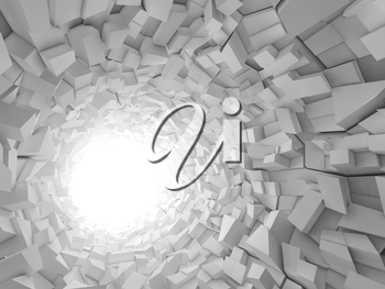 Abstract digital background, white tunnel interior with walls made of technological chaotic blocks. 3d illustration